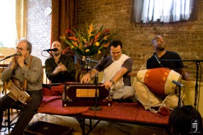 John Kruth and Jeff Greene of Tribecastan jam with Gaura Vani and Ananta Govinda