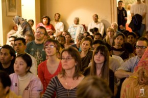 Packed into the Bhakti Center